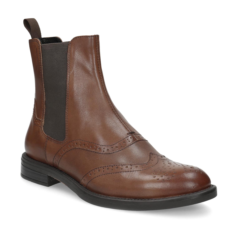 Dámská hnědá kožená Chelsea obuv
