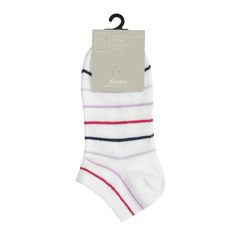 Dámské kotníkové ponožky bílé s pruhy