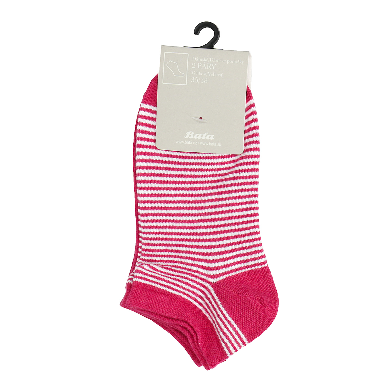 Dámské kotníkové ponožky pruhované červené