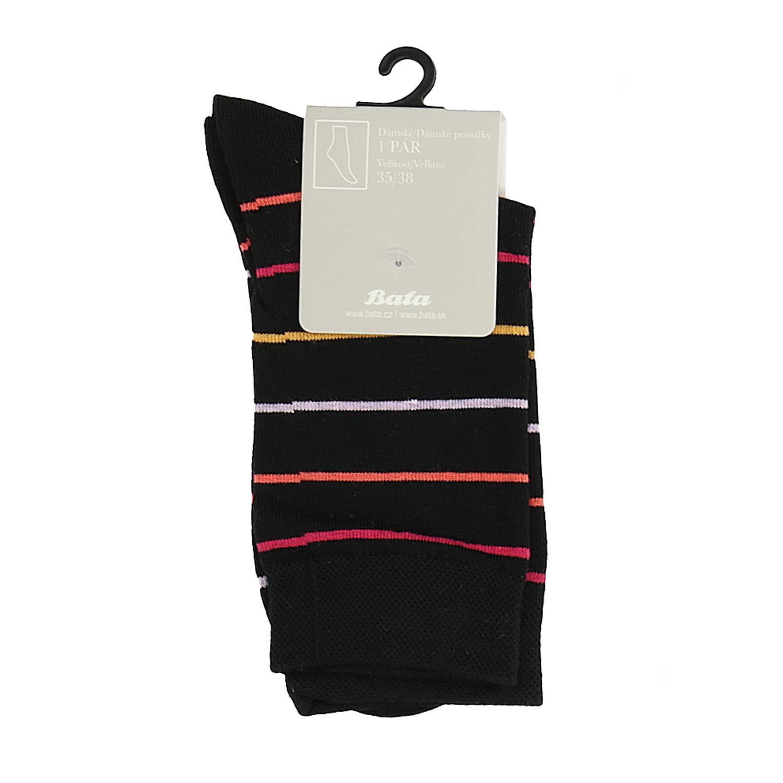 5d0f1611381 Dámské pruhované ponožky vysoké černé