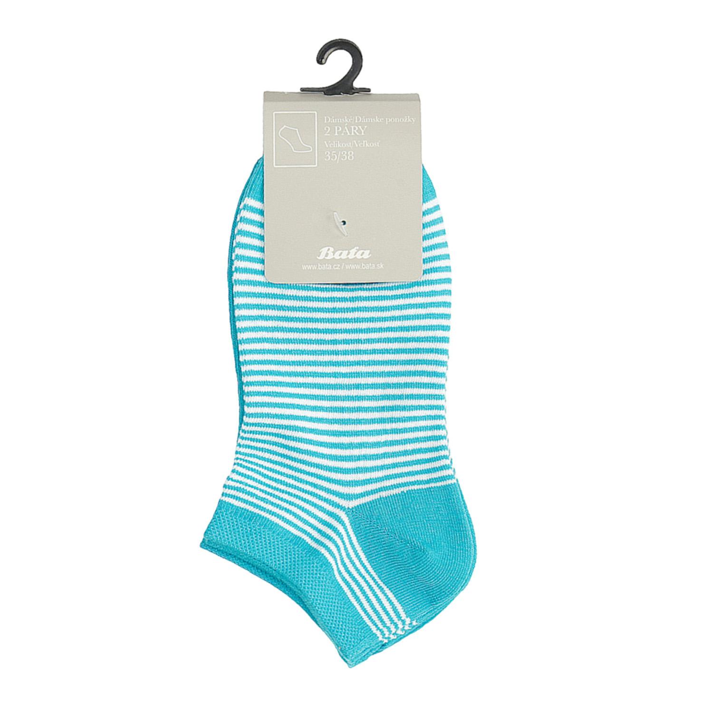 Dámské kotníkové ponožky pruhované modré