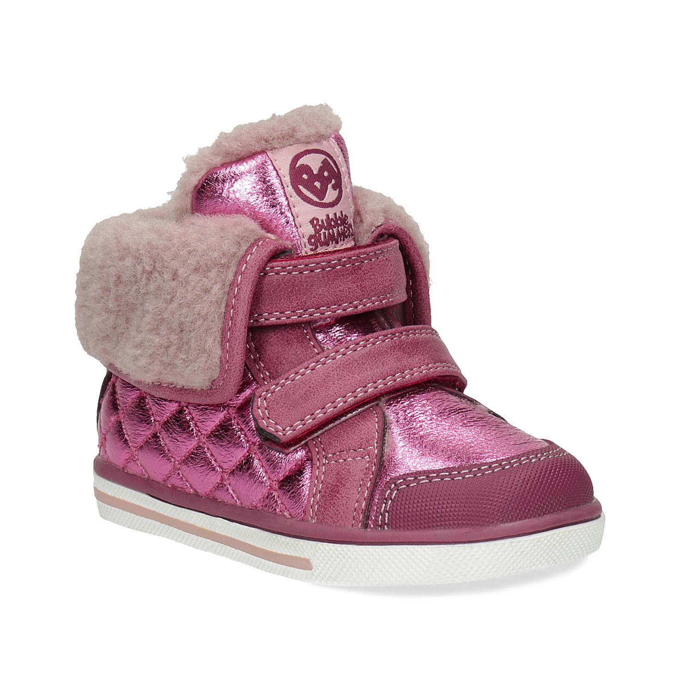 Ružová detská zimná obuv s kožúškom