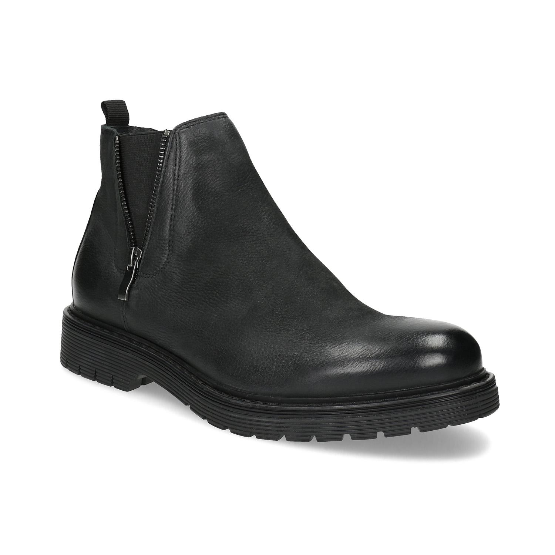 Kožená pánská zimní obuv v Chelsea stylu