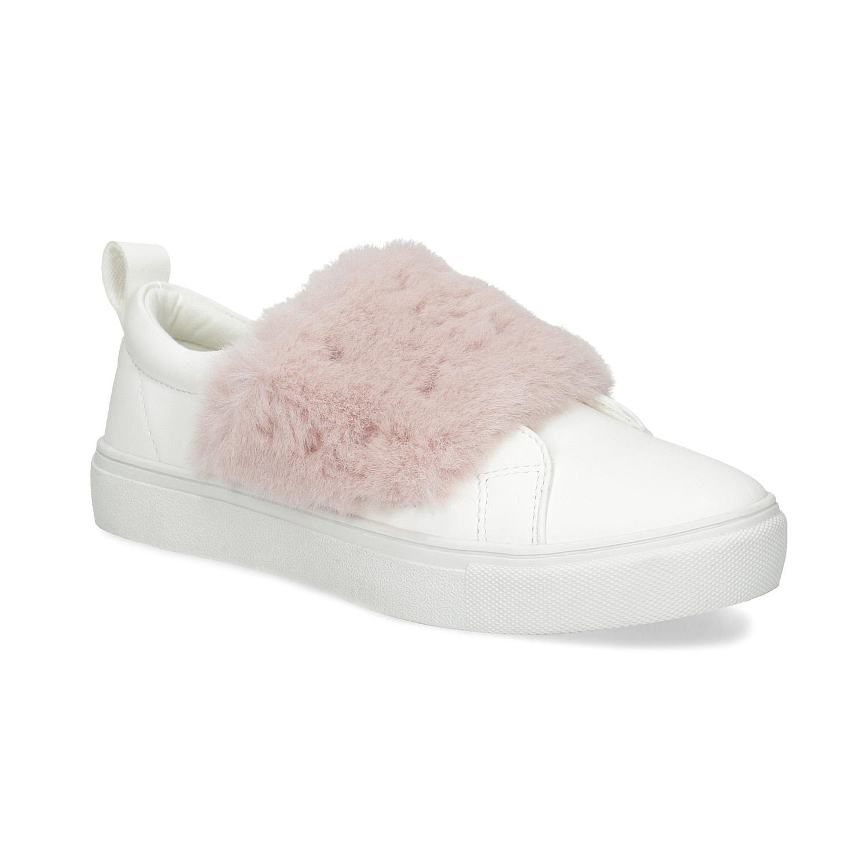 Biela dámska Slip-on obuv s kožušinkou