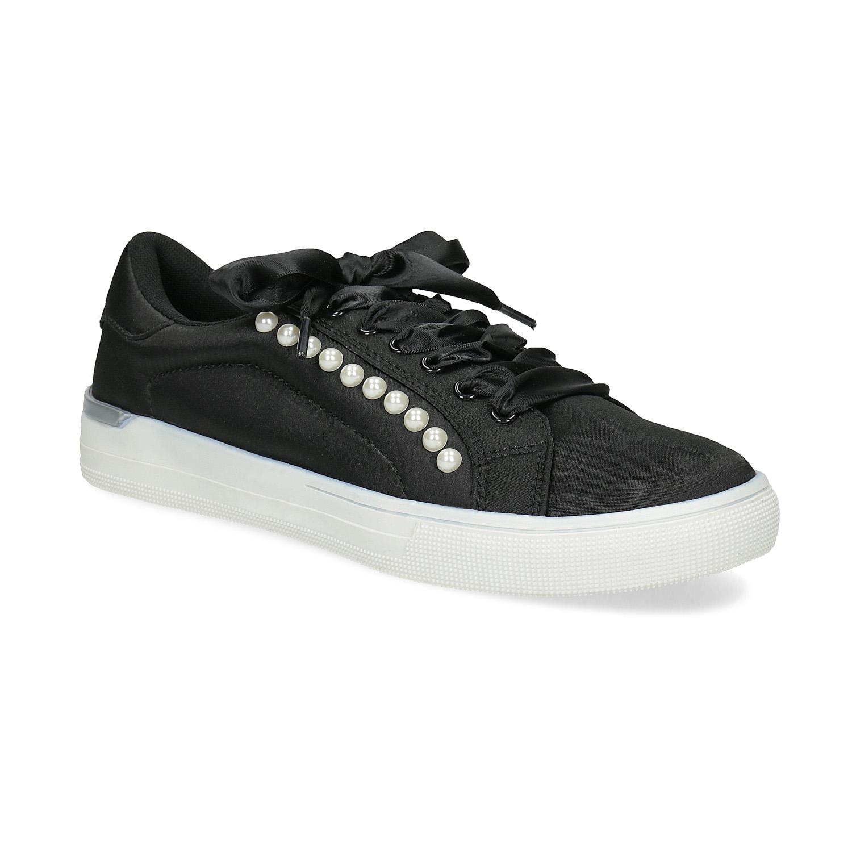 Čierne dámske tenisky s perličkami