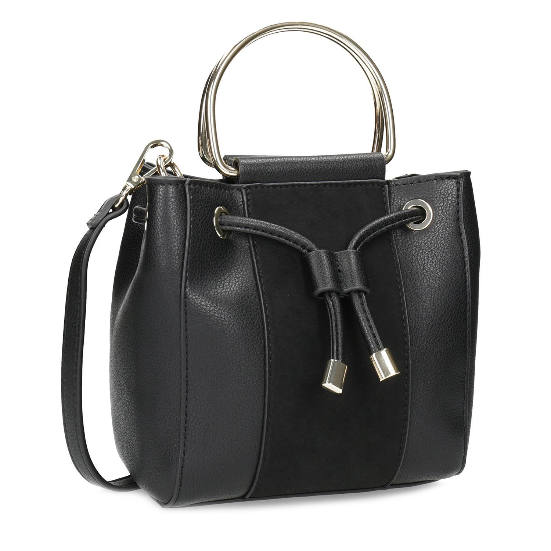 Dámská černá kabelka s kovovými uchy