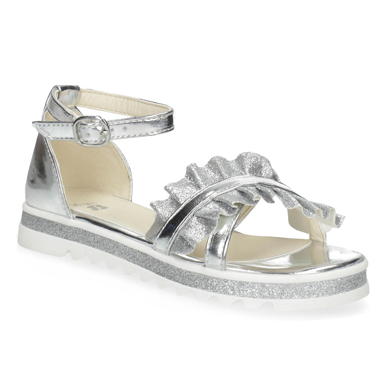 Stříbrné dívčí sandály s volánem