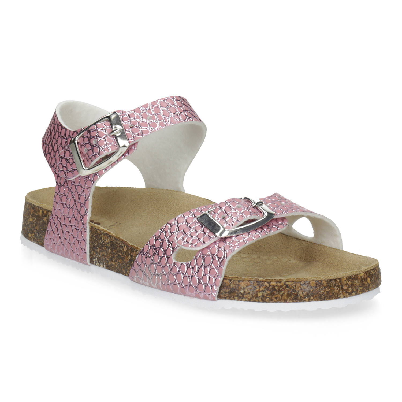 Růžové korkové sandály