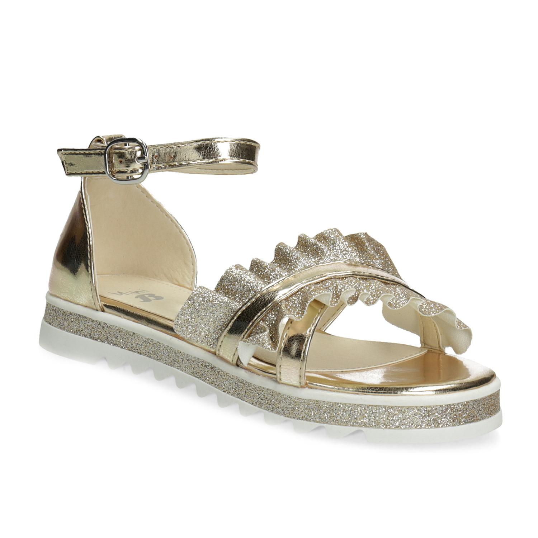 Zlaté dívčí sandály s volánem