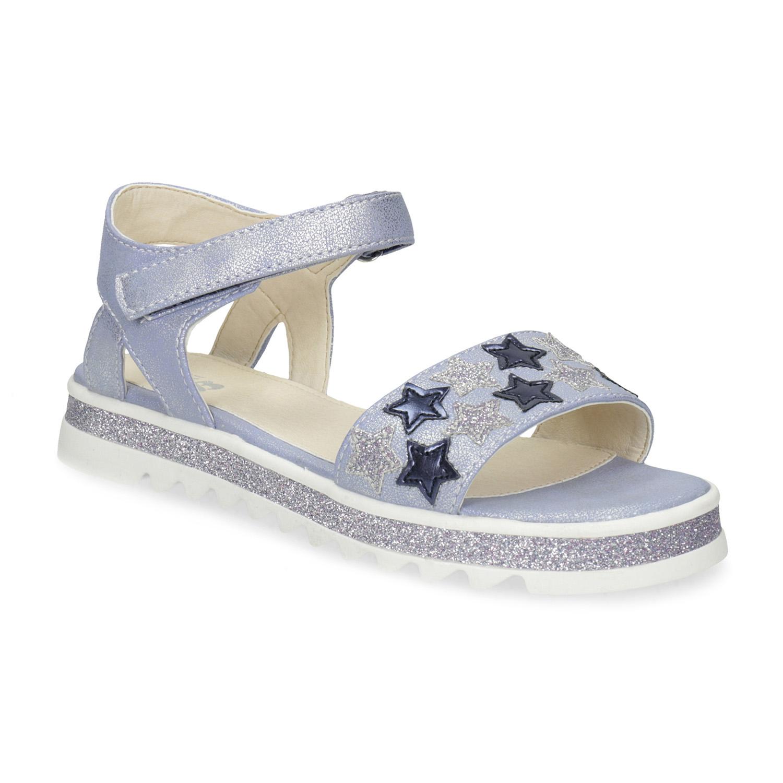 Modré dívčí sandály s hvězdičkami