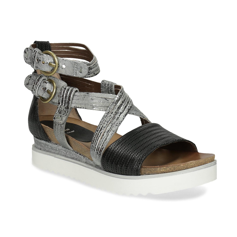 Kožené sandály na Flatformě stříbrno-černé e2e81977ff