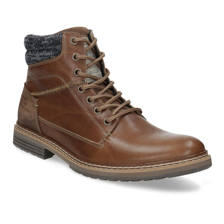 Kožená hnedá pánska členková obuv