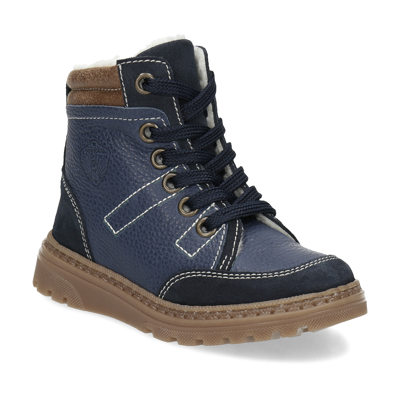 Detské modré kožené zimné topánky