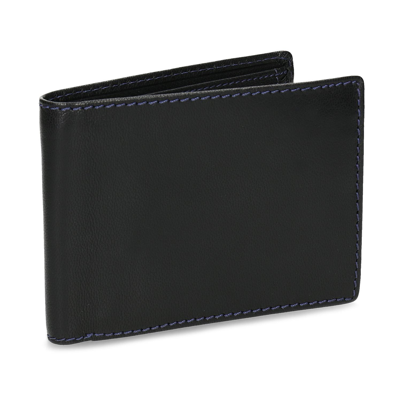 Kožená peňaženka s modrým prešitím