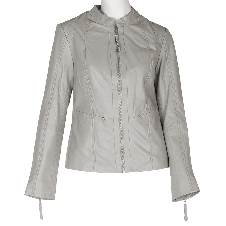 Šedá dámska kožená bunda