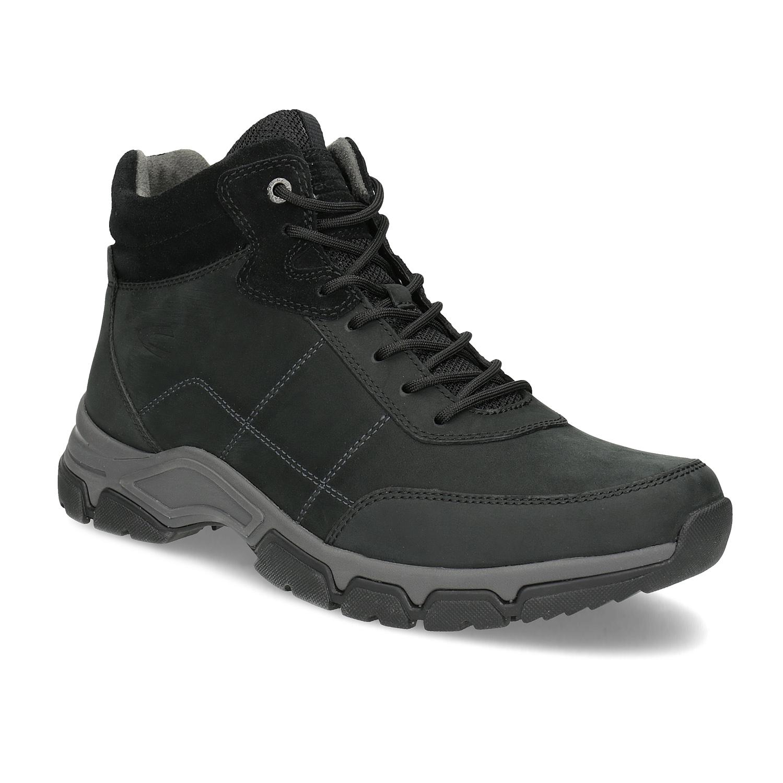 Pánska kožená čierna členková obuv