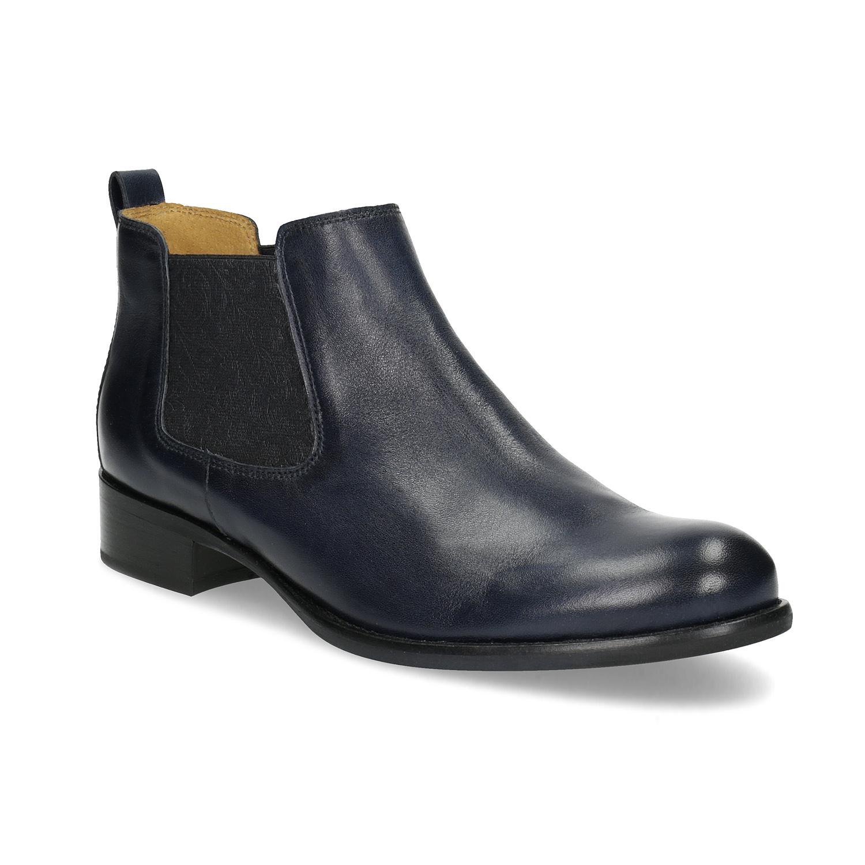 Kožená modrá kotníčková Chelsea obuv