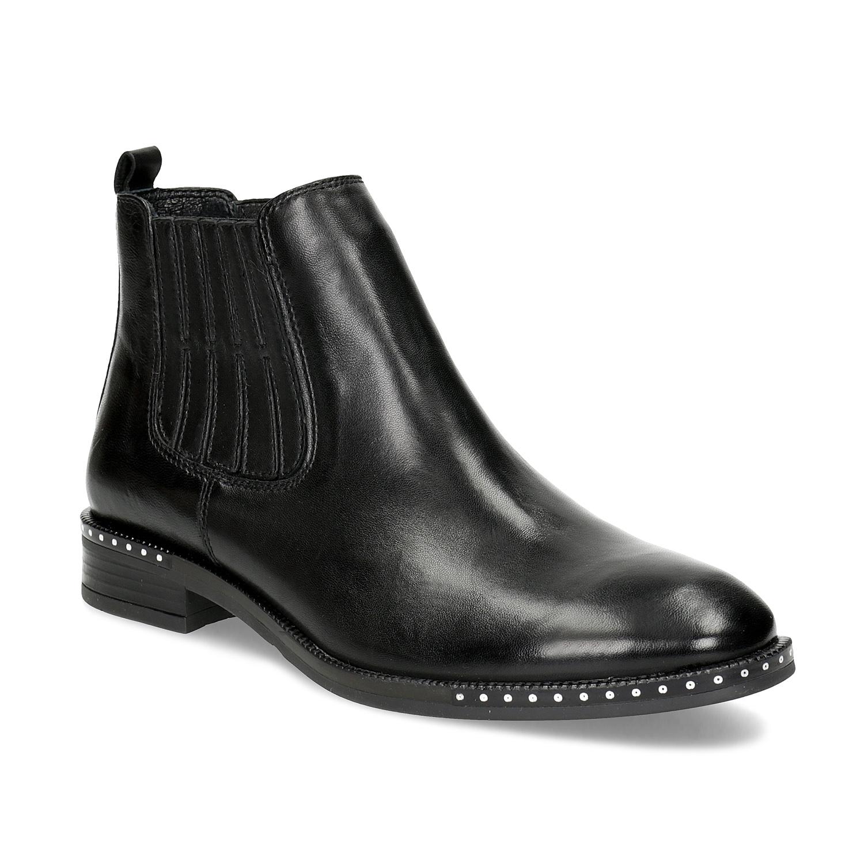 Dámská kožená Chelsea obuv s kamínky