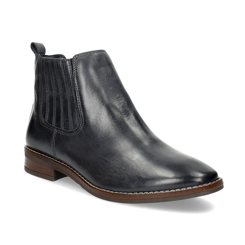 Modrá kožená dámská obuv v Chelsea stylu