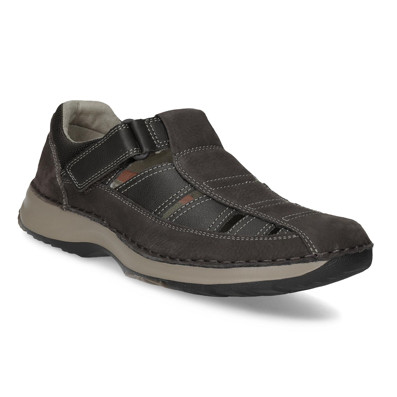Pánské kožené sandály s prošíváním