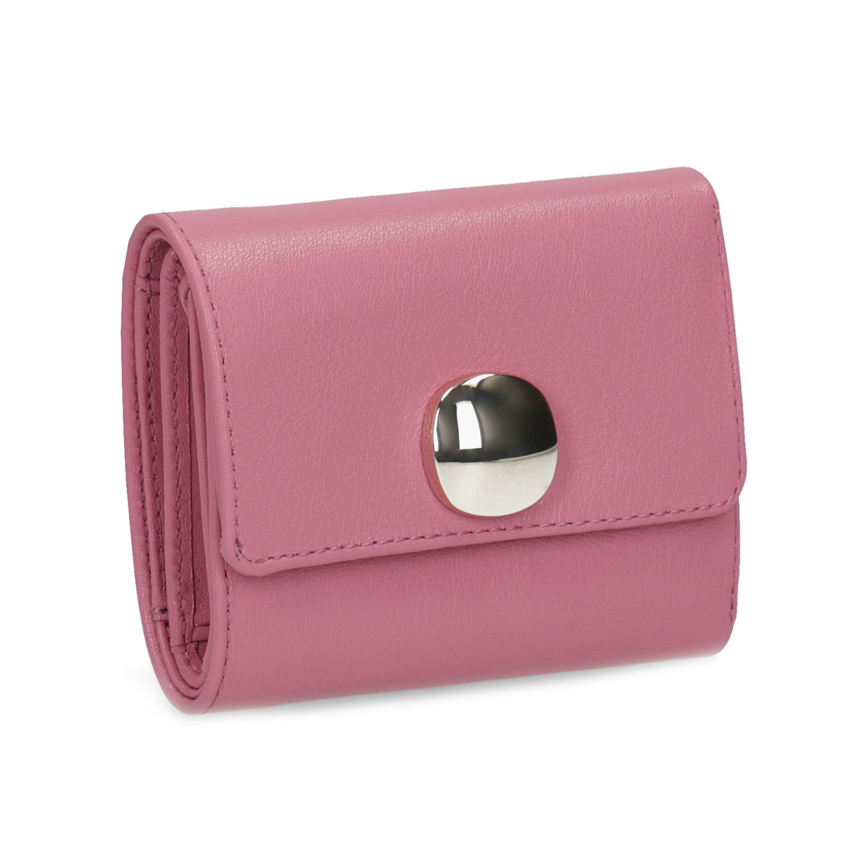 Růžová kožená peněženka se zlatým zapínáním