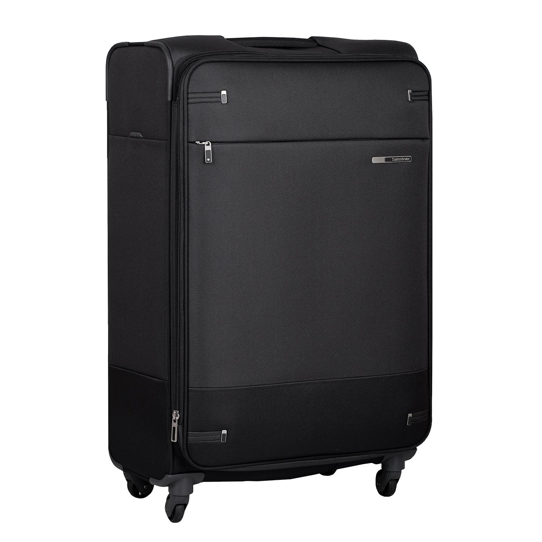 Čierny textilný kufor na kolieskach