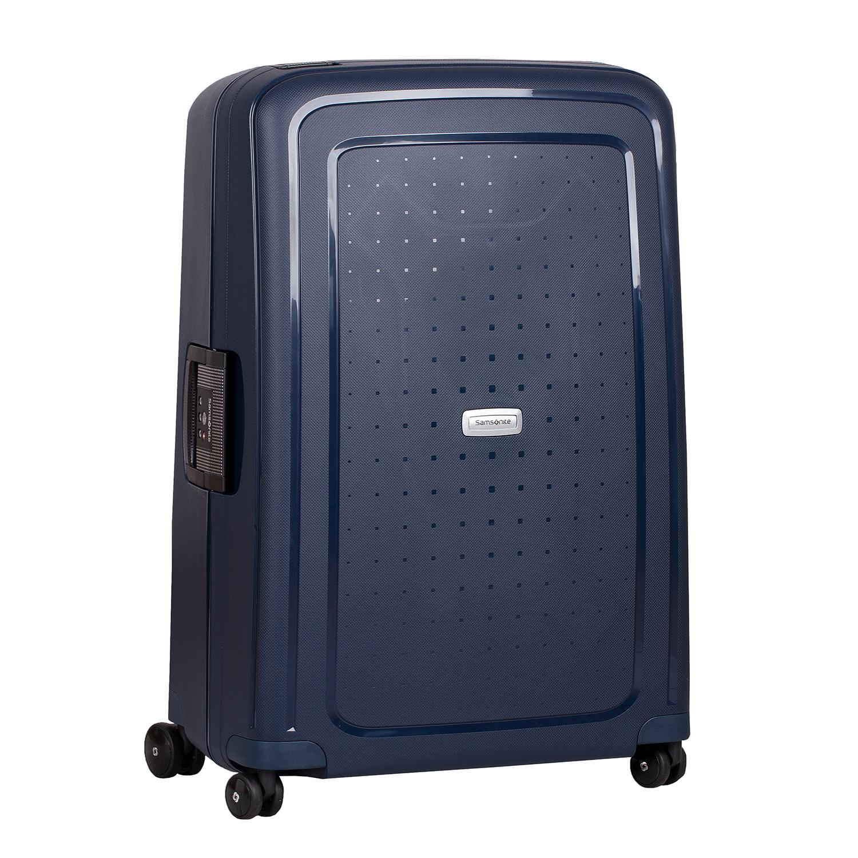 Modrý kufor na kolieskach s pevným obalom