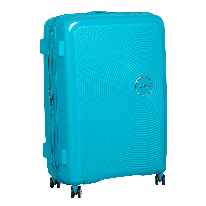 Tyrkysový skořepinový kufr na kolečkách
