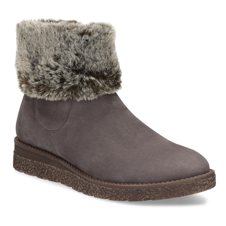 Kožená dámská zimní obuv s kožíškem