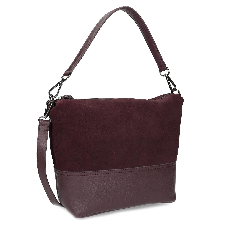 Vínová kožená Hobo kabelka s popruhem