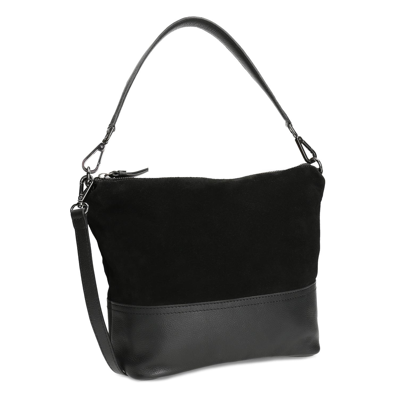 Kožená černá kabelka v Hobo stylu