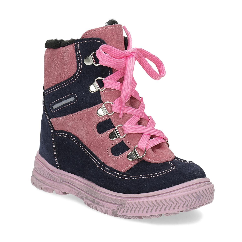 Detské ružové kožené zimné topánky 5a993c306d9