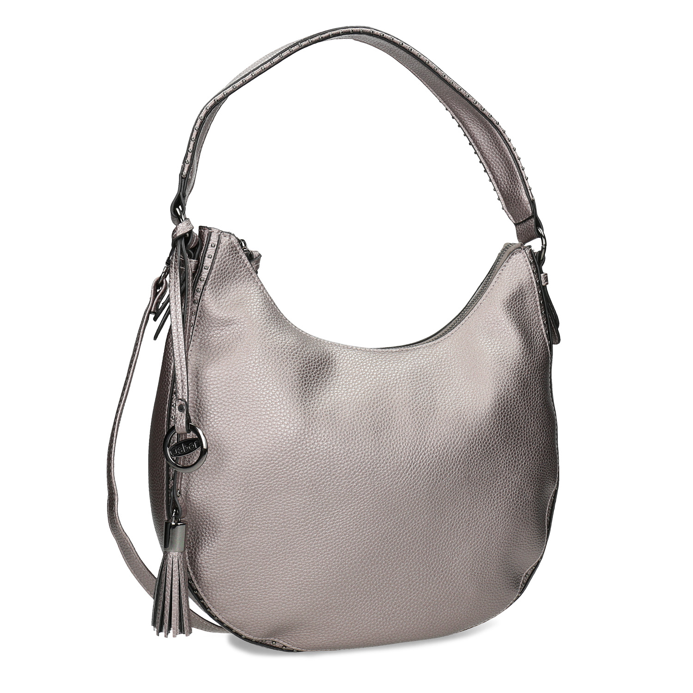 Stříbrná kabelka s ramenním popruhem