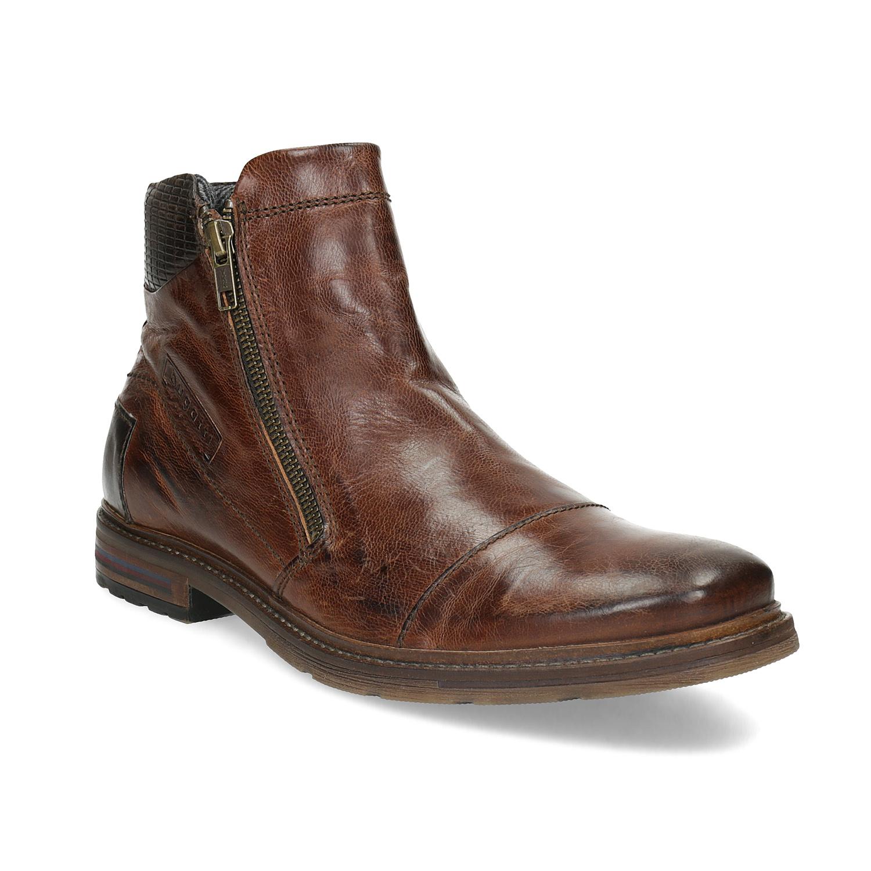 Pánska hnedá členková obuv so zipsom
