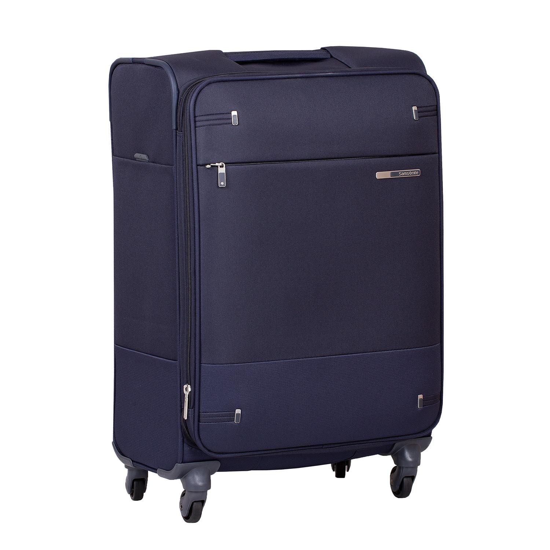 Tmavomodrý menší textilný kufor na kolieskach