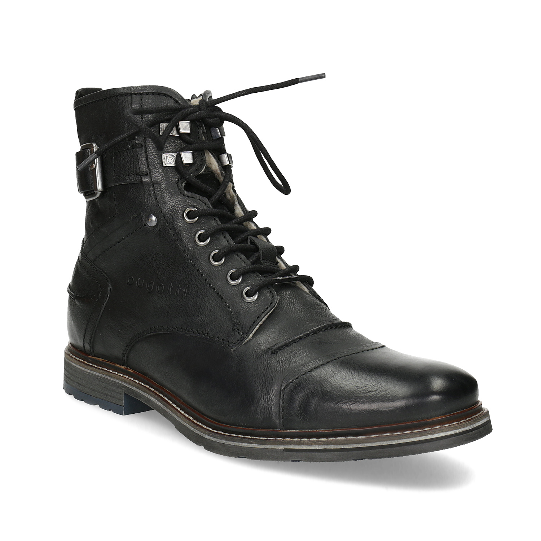 Pánska kožená členková obuv s kožúškom