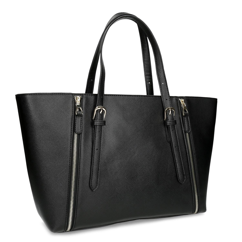 Černá dámská kabelka se stříbrnými zipy