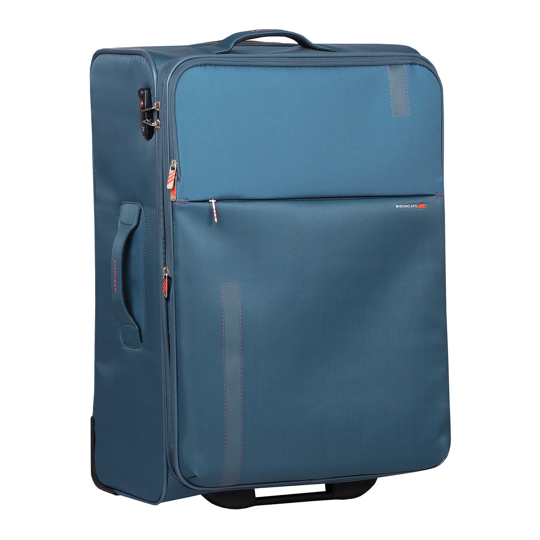 Tyrkysový textilný kufor na kolieskach