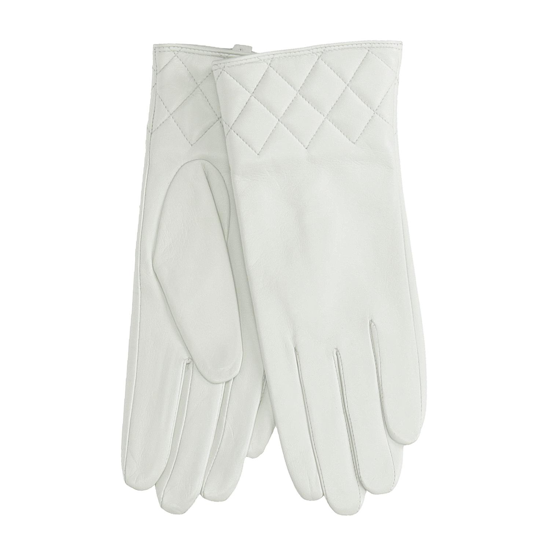 Kožené dámské rukavice bílé