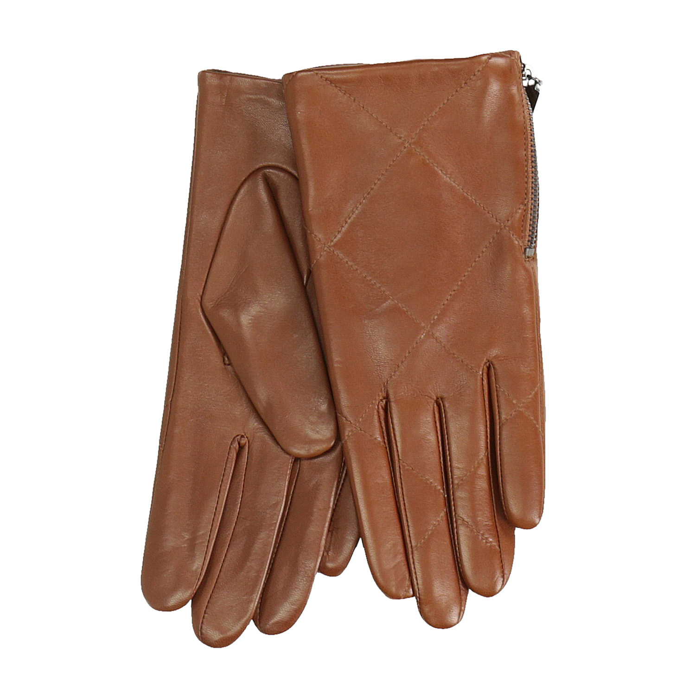 Dámské kožené rukavičky prošívané hnědé