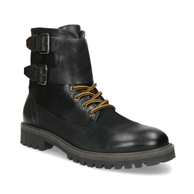 Pánská kožená zimní obuv černá