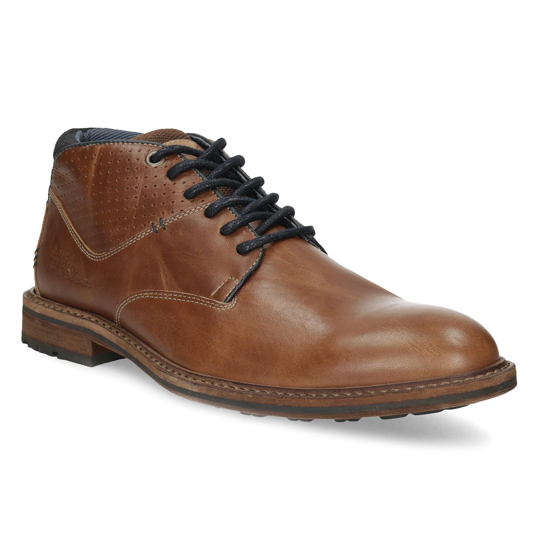 Hnedá členková kožená pánska obuv