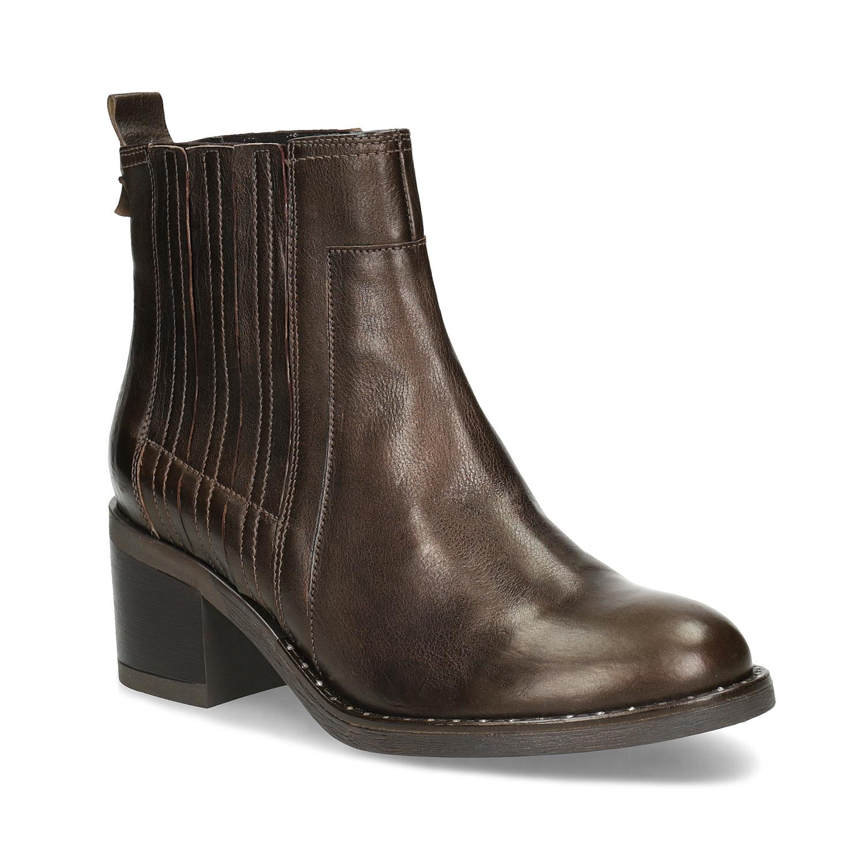 Dámská kožená kotníčková obuv s kamínky