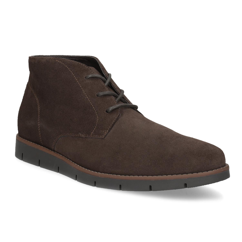 Pánska členková kožená hnedá obuv
