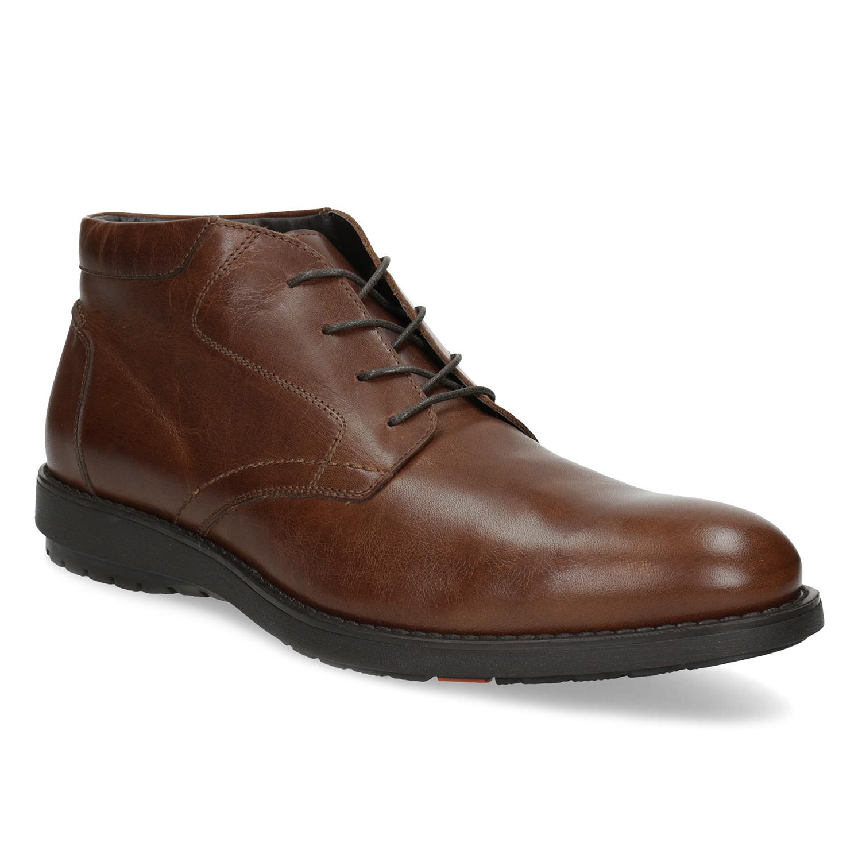 Členková kožená pánska hnedá obuv