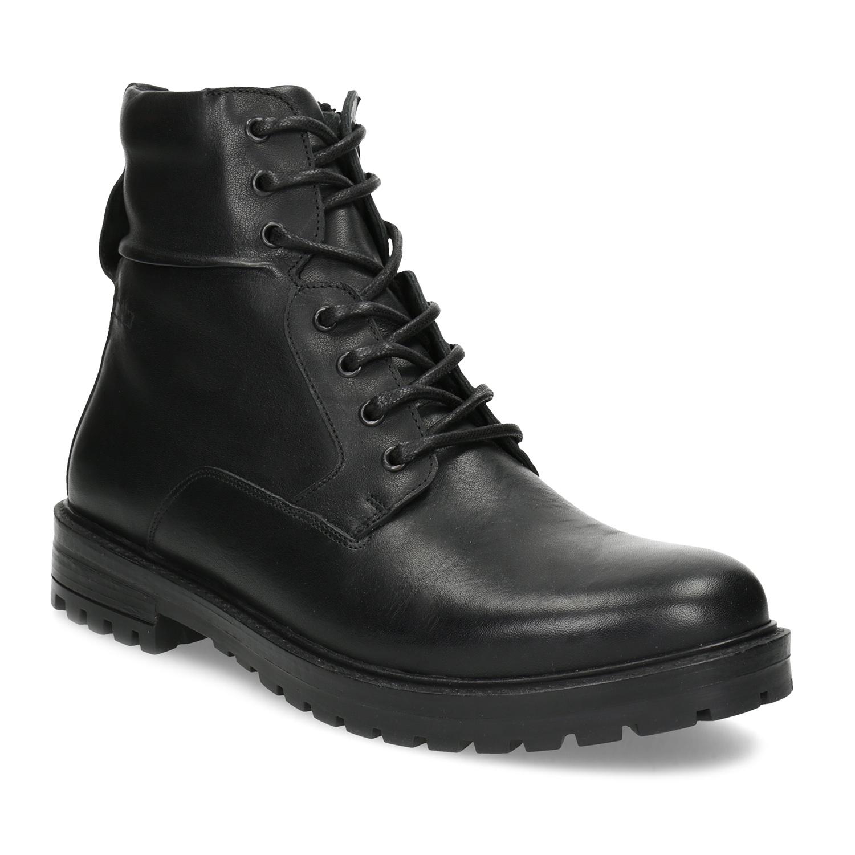 Zimní kožená kotníčková obuv černá