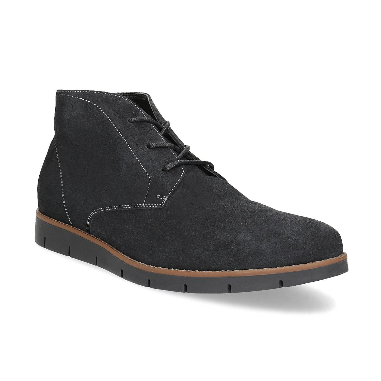 Pánská kotníčková kožená obuv modrá