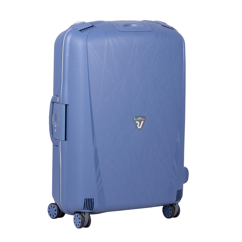 Modrý skořepinový kufr na kolečkách velký