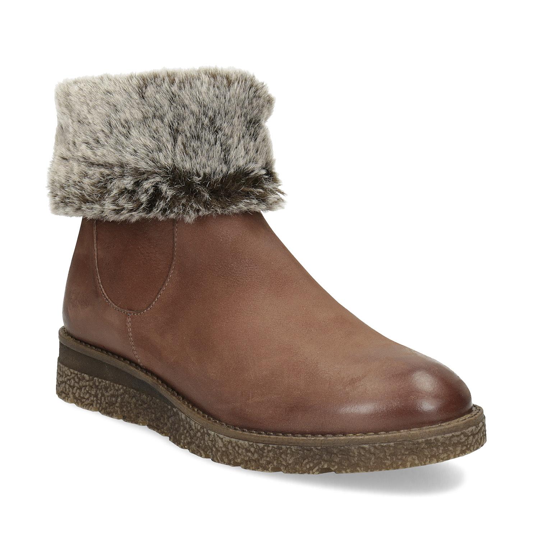 Kožená zimná členková obuv s kožúškom