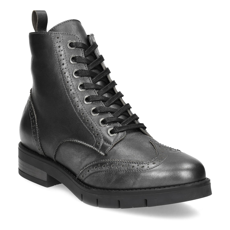Dámská kotníčková obuv kožená metalická